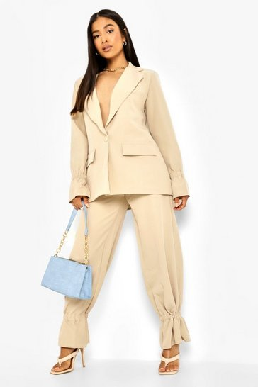 Stone beige Petite Ruched Cuff Detail Trouser Suit
