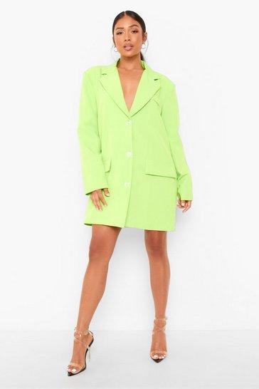 Lime green Petite Neon Oversized Boyfriend Blazer Dress