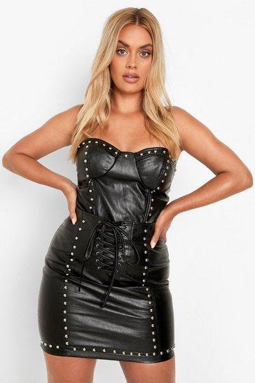 Black Plus Studded Pu Corset Top