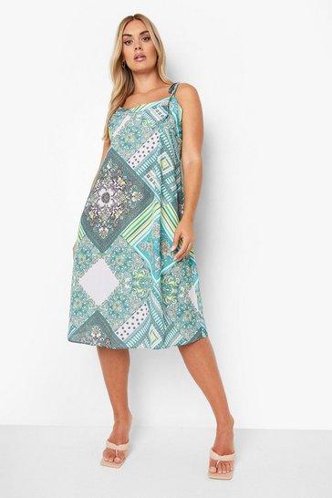 Green Plus Scarf Print Tie Strap Midi Dress