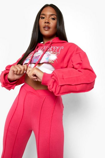 Pink Plus Cropped Exposed Seam Graphic Hoodie
