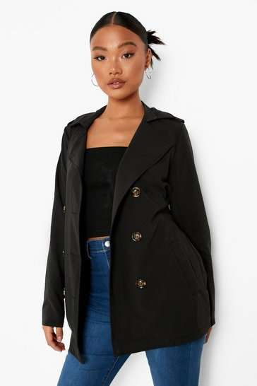 Black Petite Button Detail Cropped Trench Coat