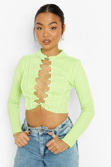 Lime green Petite Lace Up Heavy Rib Contrast Stitch Crop