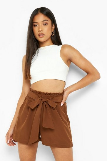 Chocolate brown Petite Shirred Tie Front Shorts