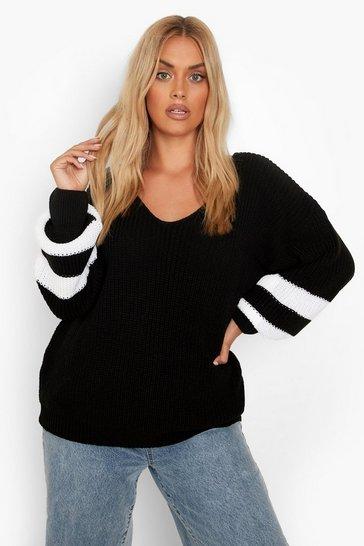 Black Plus Knitted V Neck Stripe Jumper