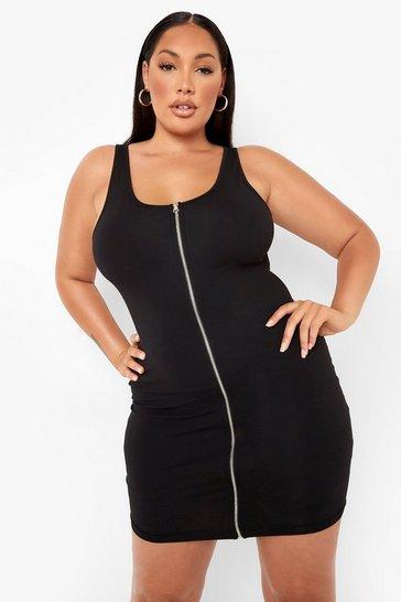 Black Plus Zip Through Bodycon Dress