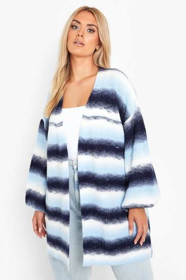Blue Plus Fluffy Knit Ombre Cardigan