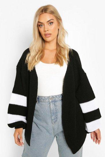 Black Plus Knitted Stripe Cardigan