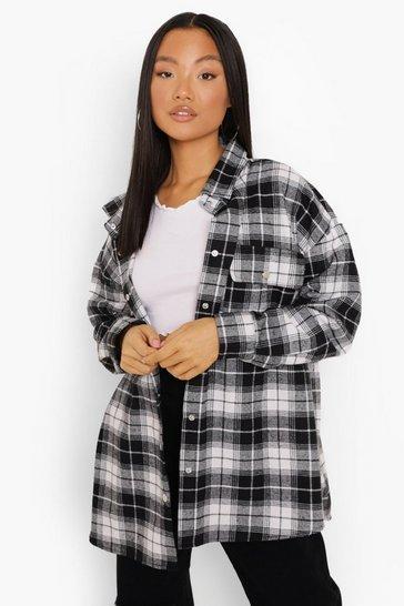 Petite Oversized Black Check Shacket