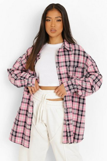 Petite Pink Oversized Check Shacket