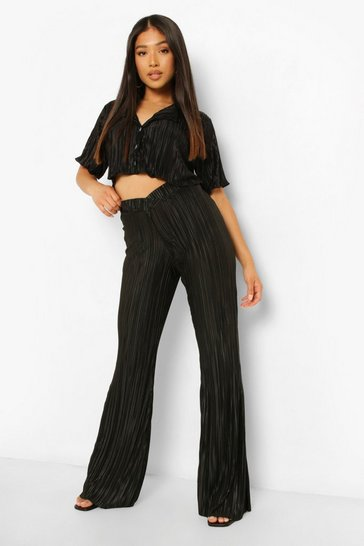 Black Petite V Waistband Plisse Trouser