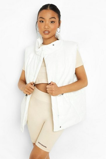 Ivory white Petite Matte Faux Leather Puffer Gilet
