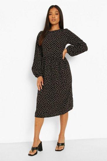 Black Petite Long Sleeve Spot Smock Midi Dress