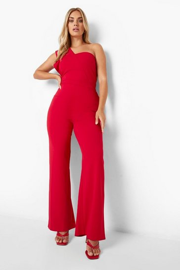 Red Plus One Shoulder Tailored Jumpsuit
