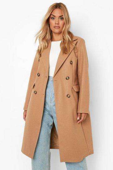 Stone beige Plus Double Breasted Wool Look Coat