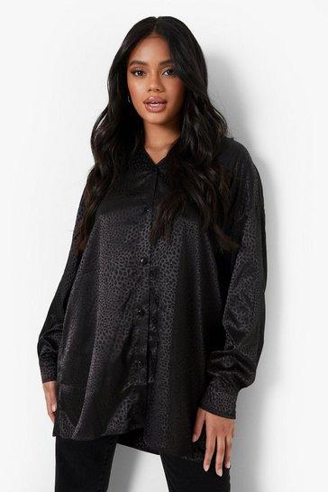 Black Petite Leopard Jacquard Satin Oversized Shirt
