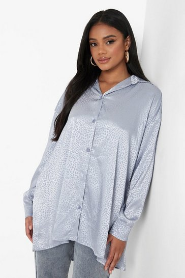 Petrol grey Petite Leopard Jacquard Satin Oversized Shirt