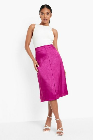 Fuchsia pink Petite Textured Jacquard Satin Midi Skirt