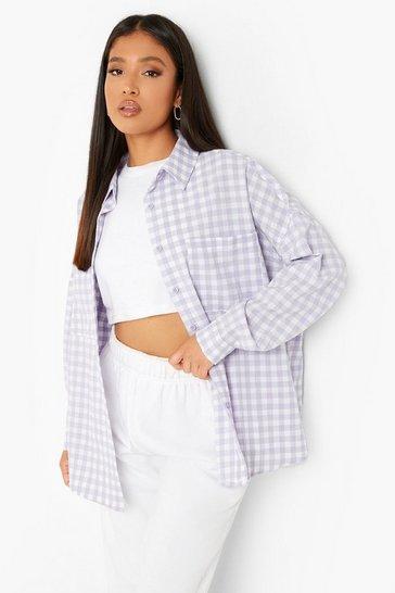 Lilac purple Purple Petite Oversized Gingham Check Shirt