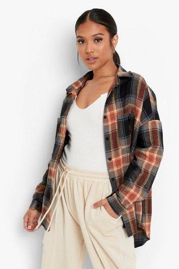 Navy Petite Oversized Check Shirt