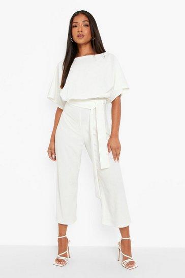 White Petite Slash Neck Tie Waist Culotte Jumpsuit