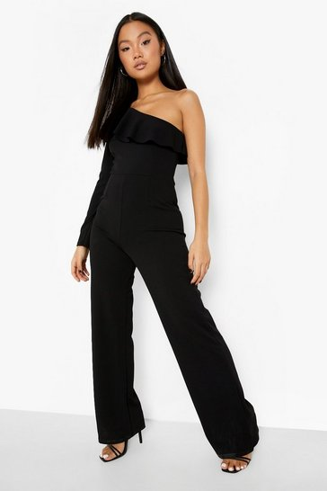 Black Petite One Shoulder Wide Leg Jumpsuit