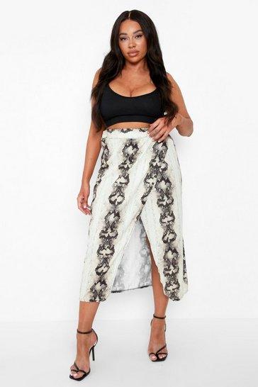 Plus Snake Wrap Midi Skirt