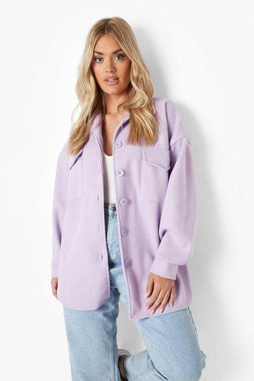 Lilac purple Plus Bright Oversized Shacket