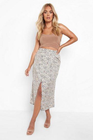 Stone beige Plus Smudge Print Split Midi Skirt