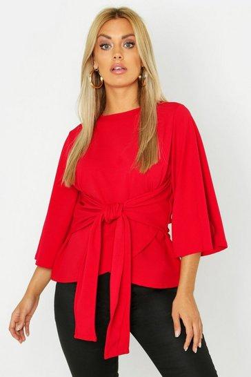 Red Plus Recycled Kimono Sleeve Tie Waist Top