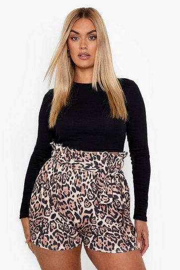 Plus Leopard Paper Bag Belted Short