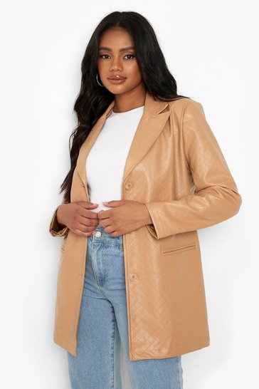 Camel beige Petite Quilted Faux Leather Oversized Blazer