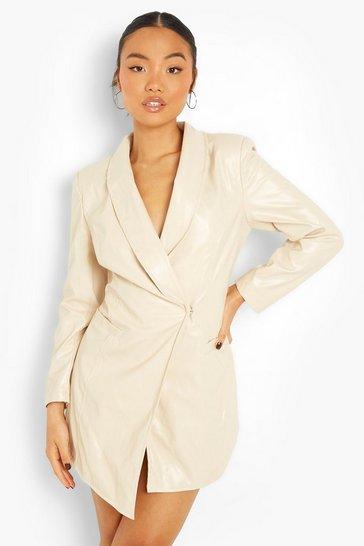 Stone beige Petite Faux Leather Wrap Blazer Dress