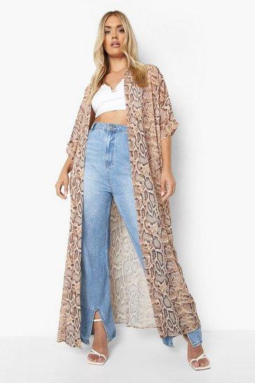 Plus Snake Print Maxi Kimono