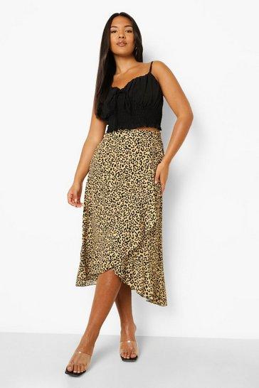 Plus Leopard Frill Wrap Midi Skirts
