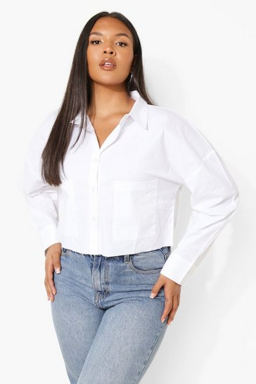 White Plus Cropped Raw Edge Poplin Shirt