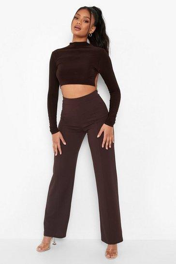 Chocolate brown Petite Seam Detail Trousers