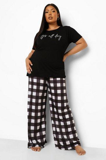 Black Plus Pj's All Day Gingham Pyjama Set