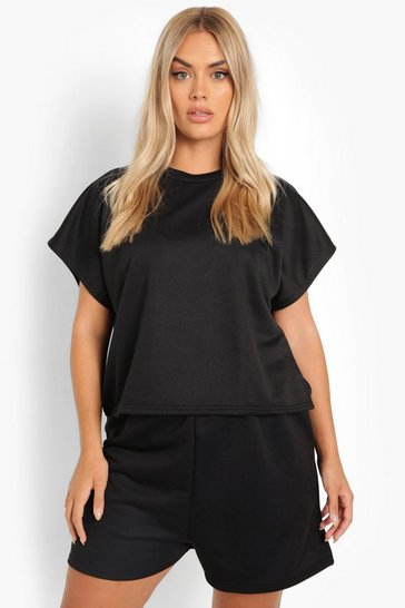 Black Plus Boxy Top And Short Pyjama Set