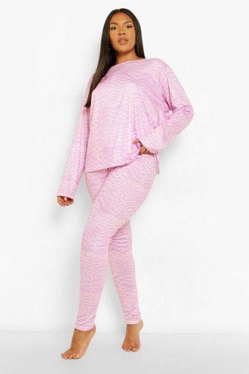 Lilac purple Plus Zebra Long Sleeve Pyjama Set