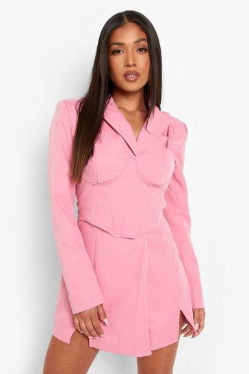 Pink Petite Blazer And Bralet Mini Dress
