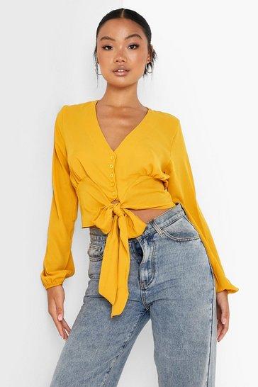 Mustard yellow Yellow Petite Woven Button Through Tie Blouse