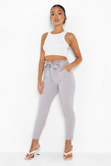 Grey Petite Paperbag Waist Belted Trouser