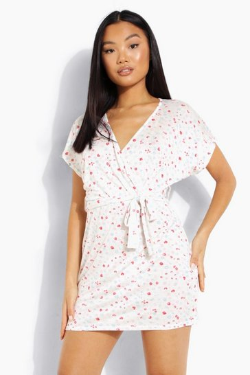 Ivory white Petite Ditsy Print Short Sleeve Wrap Dress
