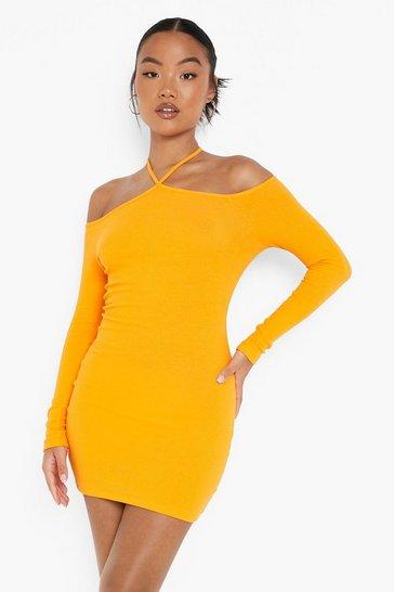 Orange Petite Recycled Halter Bardot Mini Dress