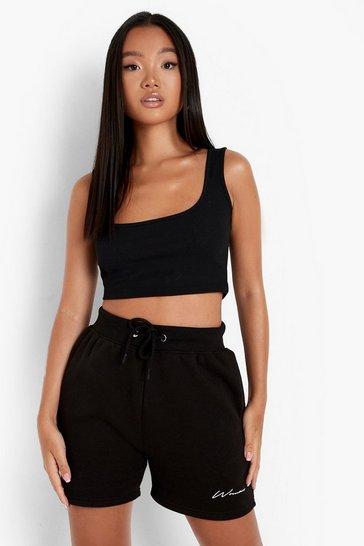 Black Petite Recycled Square Neck Vest Top