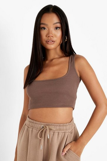 Coffee brown Petite Recycled Square Neck Vest Top