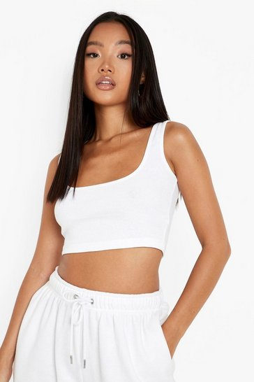 White Petite Recycled Square Neck Vest Top