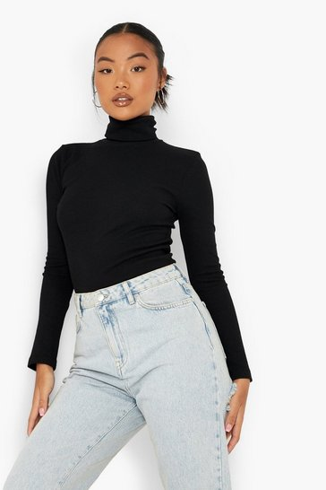 Black Petite Recycled Roll Neck Top