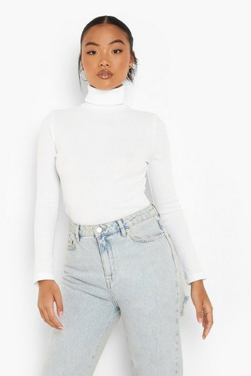White Petite Recycled Roll Neck Top